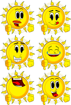 Cartoon sun showing dislike hand sign. Collection with happy faces. Expressions vector set. Illustration