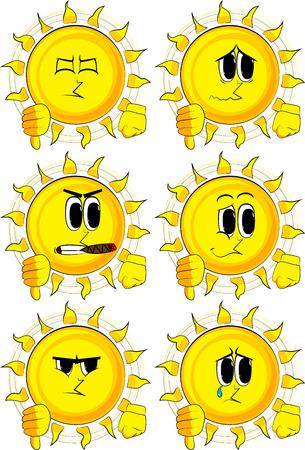 Beeldverhaalzon die afkeer handteken toont. Verzameling met droevige gezichten. Expressies vector set. Stock Illustratie