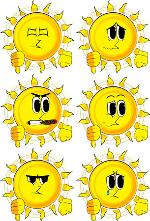 disapprove: Cartoon sun showing dislike hand sign. Collection with sad faces. Expressions vector set.