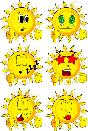 disapprove: Cartoon sun showing dislike hand sign. Collection with various facial expressions. Vector set. Illustration