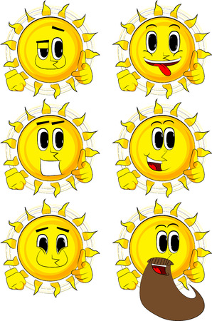 Cartoon sun with pointing hand at the viewer. Collection with happy faces. Expressions vector set.
