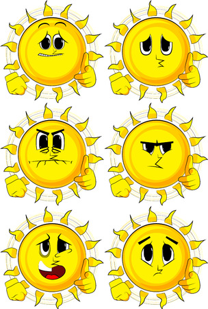 Cartoon sun with pointing hand at the viewer. Collection with sad faces. Expressions vector set.