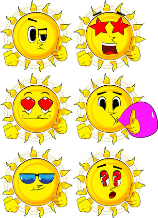 Cartoon sun with pointing hand at the viewer. Collection with various facial expressions. Vector set.