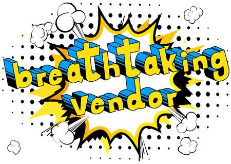 Breathtaking Vendor - 추상적 인 배경에 만화 스타일 단어입니다.