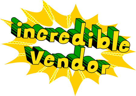 Incredible Vendor - Comic book style word on abstract background. Çizim