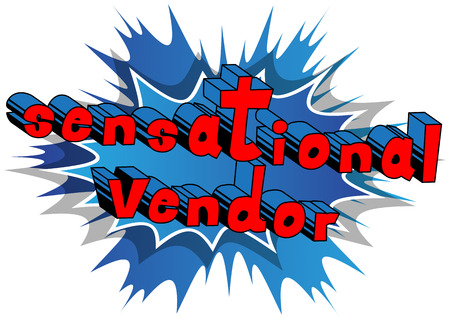 Sensational Vendor - Comic book style word on abstract background. Banco de Imagens - 86192217