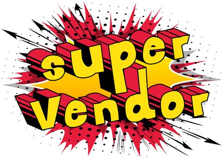 슈퍼 공급 업체 - 추상적 인 배경에 만화 스타일 단어. 일러스트