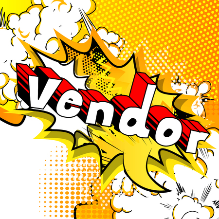 Vendor - Comic book style word on abstract background.