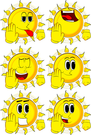 Cartoon sun showing deny or refuse hand gesture. Collection with happy faces. Expressions vector set. Ilustrace