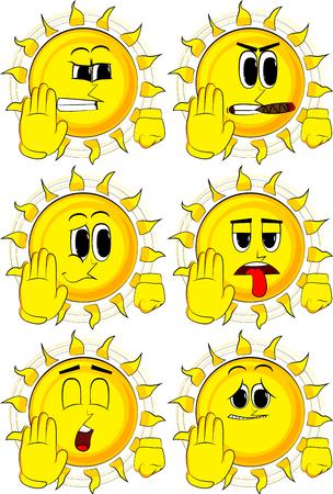 Beeldverhaalzon die ontkenning tonen of handgebaar weigeren. Verzameling met droevige gezichten. Expressies vector set.