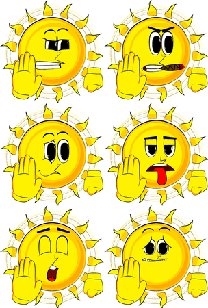 disapprove: Cartoon sun showing deny or refuse hand gesture. Collection with sad faces. Expressions vector set.