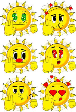 만화 태양 거부 또는 거부 손 제스처입니다. 다양 한 얼굴 표정으로 컬렉션입니다. 벡터 설정입니다.