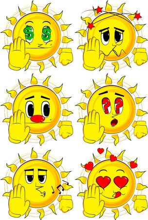 Cartoon sun showing deny or refuse hand gesture. Collection with various facial expressions. Vector set.
