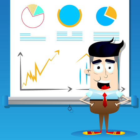 Happy smiling successful businessman and graphs on projector screen. Vector cartoon character illustration.