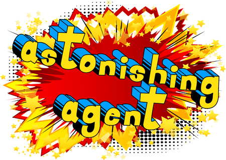 Astonishing Agent - Comic book style word on abstract background. Иллюстрация