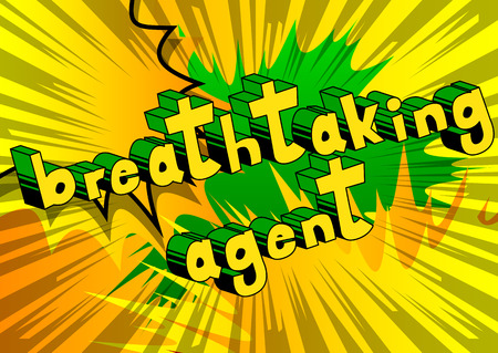 Breathtaking Agent - Comic book style word on abstract background. Illustration