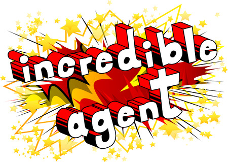Incredible Agent - Comic book style word on abstract background.