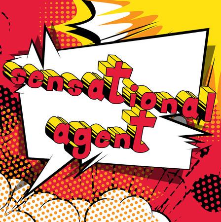 センセーショナルなエージェント - コミック スタイル word の抽象的な背景。  イラスト・ベクター素材