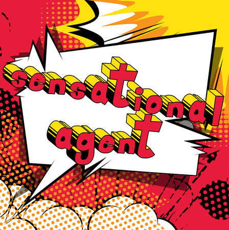 Sensational Agent - Comic book style word on abstract background.