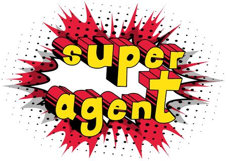 スーパー エージェント - コミック スタイル word の抽象的な背景。