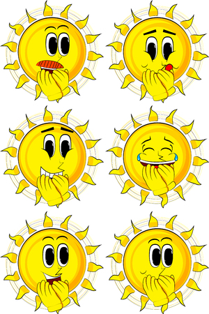 Cartoon sun with hands over mouth. Collection with happy faces. Expressions vector set. Illustration