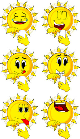 Cartoon sun using a mobile phone. Collection with happy faces. Expressions vector set.
