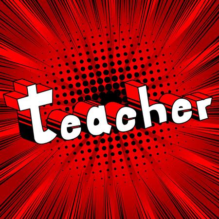 教師 - コミック スタイル句の抽象的な背景。