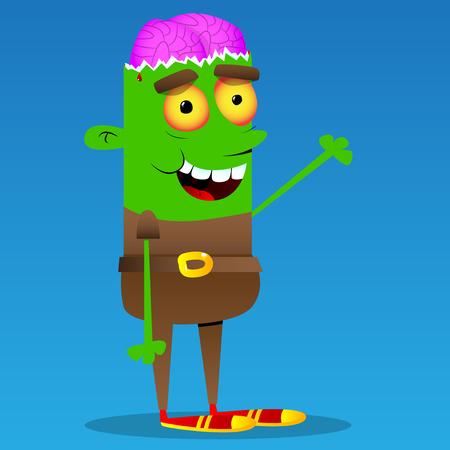 Gelukkige glimlachende zombie mascotte golvende hand. Vector cartoon karakter illustratie.