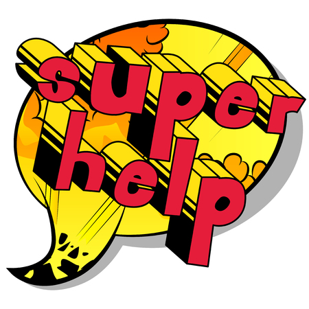 Super Help - Comic book style phrase on abstract background. Çizim