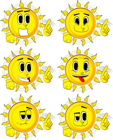 Conjunto de dibujos animados sol diciendo no con su dedo. Foto de archivo - 86635052