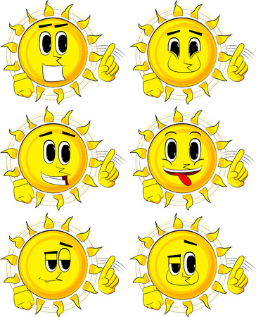 Set of cartoon sun saying no with his finger.