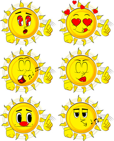 Cartoon sun saying no in different expression with his finger.