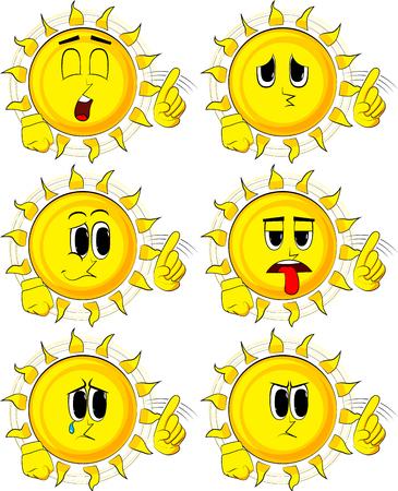 Cartoon zon zegt nee in verschillende uitdrukking met zijn vinger.