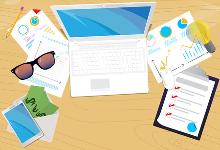 Top view of office desk. Vector illustrated cartoon background with Lap top,smart phone, notebook, pencil and charts on papers. Ilustração
