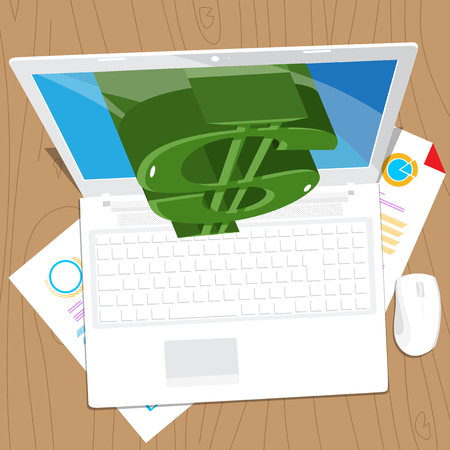 Dollar sign coming out from a lap top screen. Vector illustrated cartoon, online, e-business concept.