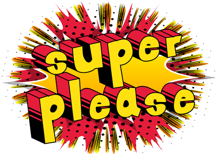 Super Please - Comic book style word on abstract background. Reklamní fotografie - 86911518