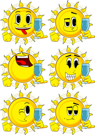 Cartoon sun with with a glass of water. Collection with happy faces. Expressions vector set. 向量圖像