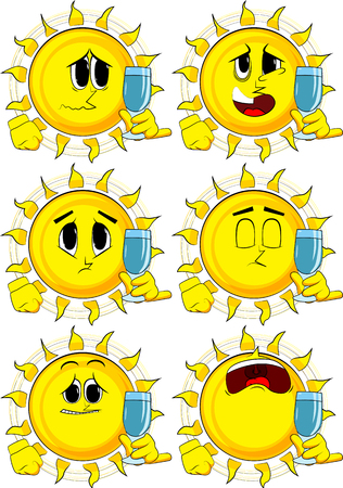 Cartoon sun with with a glass of water. Collection with sad faces. Expressions vector set. Illustration