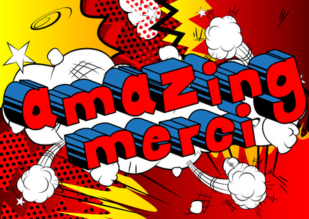 Amazing Merci - Thank You in French - Comic book style word on abstract background. Illusztráció