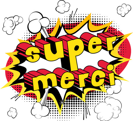 Super Merci - dank u in het Frans - Comic book stijl word op abstracte achtergrond.