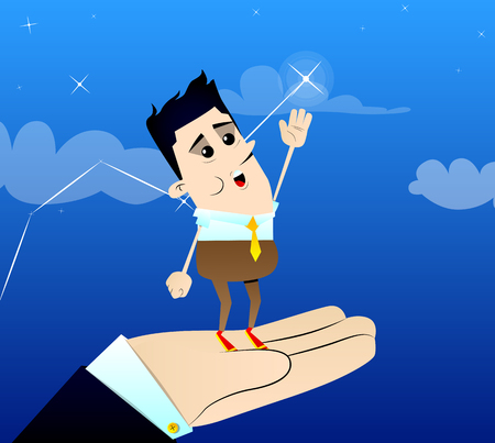 Businessman reaching for the brightest star with a helping hand.Vector cartoon character illustration. Business concept.
