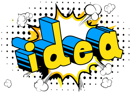 Idea - Comic book style phrase on abstract background. Çizim