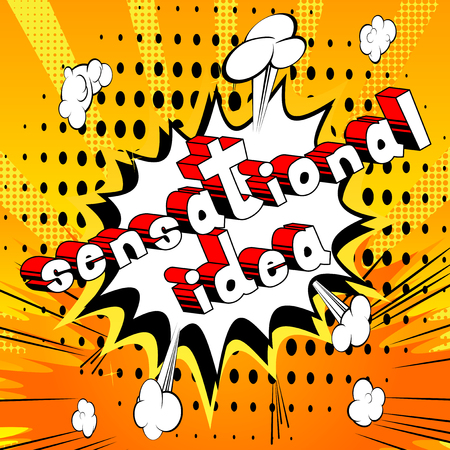 Sensational Idea - Comic book style phrase on abstract background. Stok Fotoğraf - 87109962