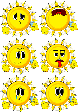 Cartoon sun drinking brandy. Collection with sad faces. Expressions vector set.