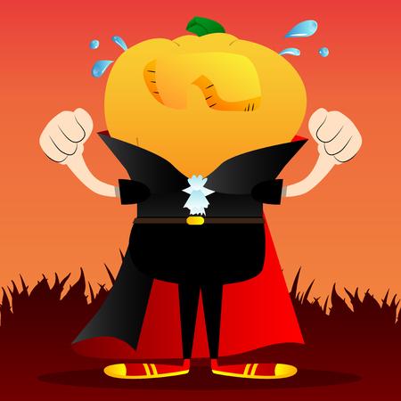 Sad crying Jack O Lantern with orange pumpkin instead of a head. Vector Halloween Cartoon Character. Иллюстрация