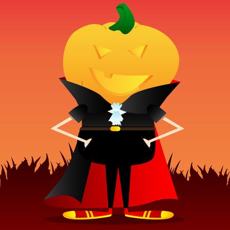 Happy smiling Jack O Lantern with orange pumpkin instead of a head. Vector Halloween Cartoon Character.