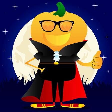 Jack O Lantern with orange pumpkin instead of a head showing thumb up hand sign. Vector Halloween Cartoon Character.