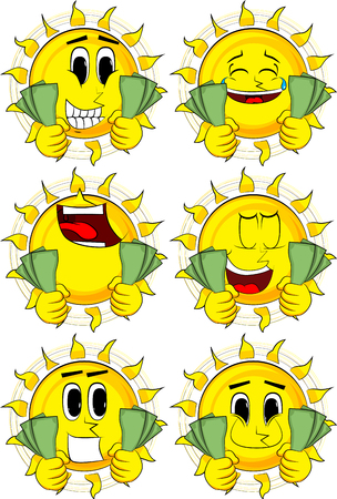 Cartoon sun holding or showing money bills. Collection with happy faces. Expressions vector set. Illustration