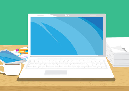 Office desk. Vector illustrated cartoon background with Lap top,smart phone, coffee, pencil and charts on papers.
