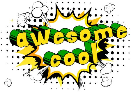 Awesome Cool - Comic book style word on abstract background. Illusztráció